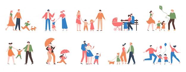 Familie wandelen. familieleden mensen buiten, moeder, vader en kinderen lopen, hebben samen plezier, actieve levensstijl van schattige familie illustratie set. vader en moeder met kinderen lopen samen buiten