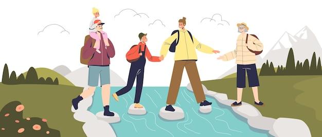 Familie wandelen in de bergen, ouders en kinderen reizen op vakantie, samen wandelen. jonge reizigers wandelaars op actieve vakantie rivier oversteken. cartoon platte vectorillustratie