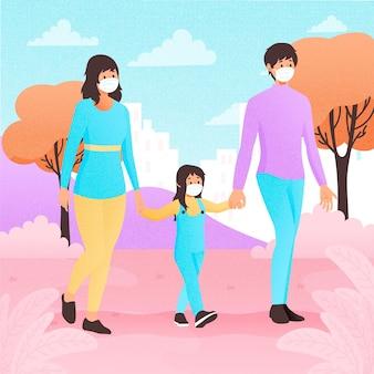 Familie wandelen met chirurgische maskers