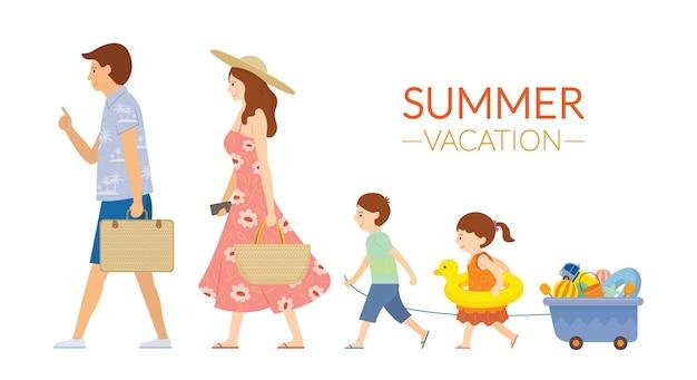 Familie wandelen om zomer te reizen met uitrusting voor de strandactiviteiten