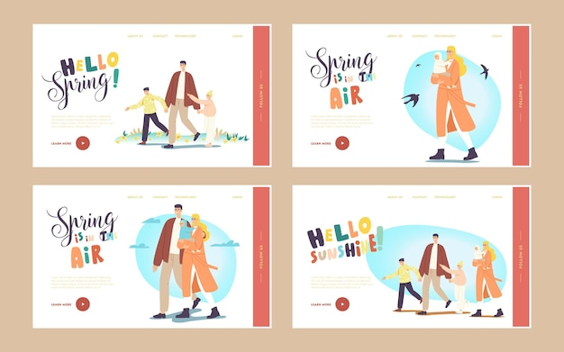 Familie wandeling bestemmingspagina sjabloon set. karakters die bij spring park lopen. vader, moeder met baby, zoon en dochter brengen samen tijd door in de buitenlucht, actieve vrije tijd. cartoon mensen vectorillustratie