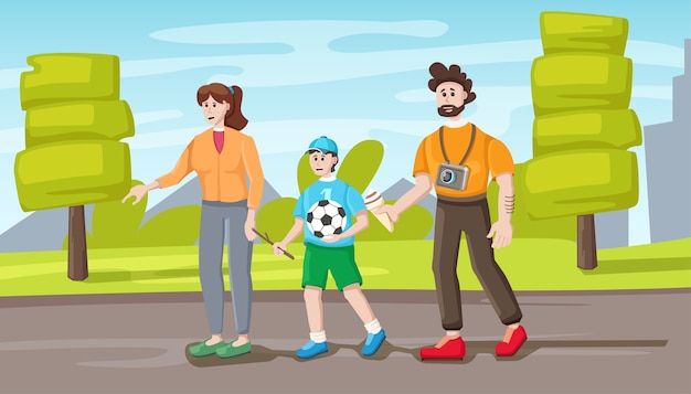 Familie wandeling in park, cartoon afbeelding. vader, moeder en zoon.