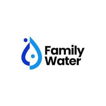Familie waterdruppel mensen doneren donatie ouder kind logo vector pictogram illustratie
