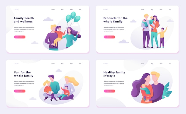 Familie web banner concept. gelukkige ouder