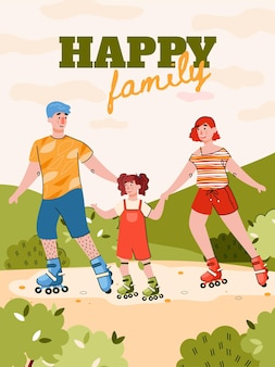 Familie weekend banner met familie schaatsen rollen cartoon afbeelding