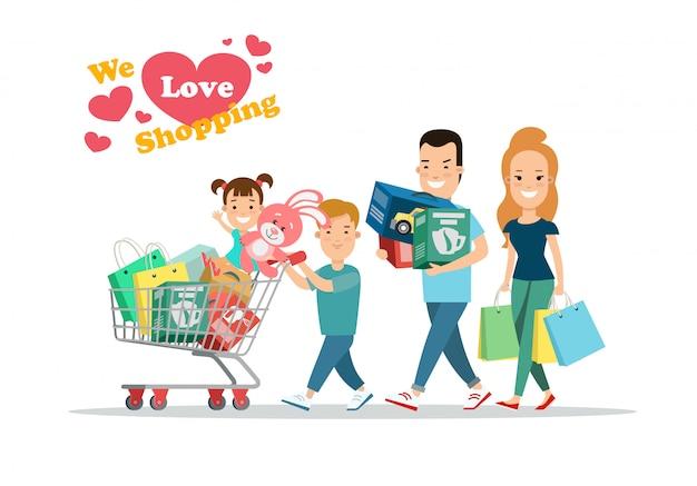 Familie winkelen concept. ouders en kinderen met aankopen op kar vectorillustratie.