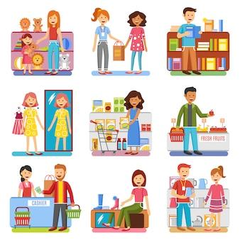 Familie winkelen concept platte pictogrammen collectie
