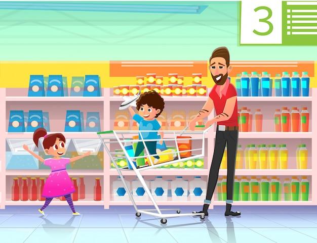Familie winkelen met vader in platte supermarkt.
