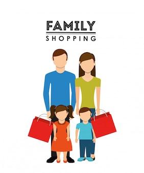 Familie winkelen ontwerp
