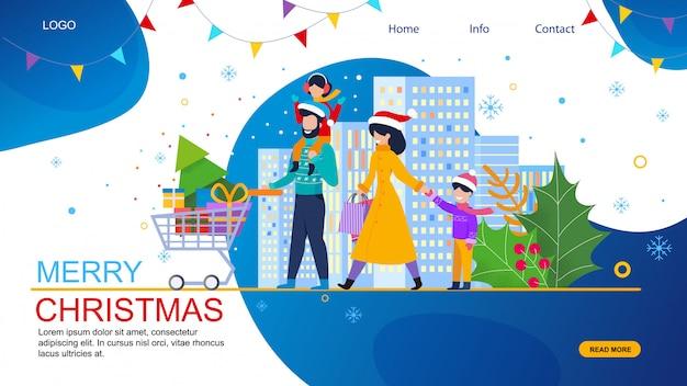 Familie winkelen op kerstmis verkoop vector website