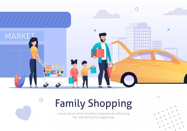 Familie winkelen, winkelwagen met zakken, goederen in de buurt van auto.