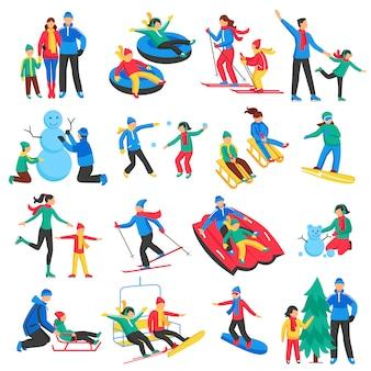 Familie wintersport icons set