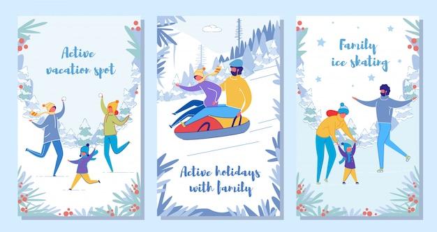 Familie wintervakantie vakantie en activiteit kaartenset.