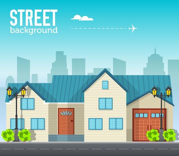 Familie woningbouw in stadsruimte met weg