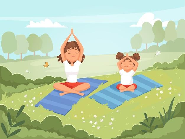 Familie yoga. moeder en dochter maken van oefeningen buiten in het park yoga fitness trainingsvaardigheden vector cartoon. dochter met moeder doet yoga, sport en fitness