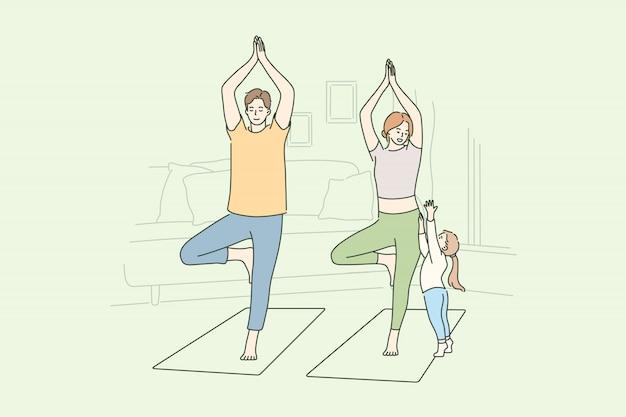 Familie, yoga, sport, recreatie, moederschap, vaderschap, concept jeugd