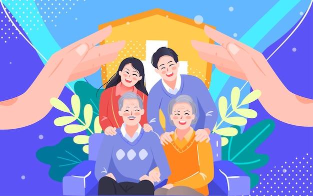 Familie ziektekostenverzekering verzekering illustratie familie bewaker garantie poster