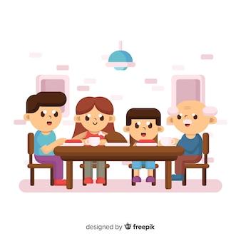 Familie zit rond de tafel