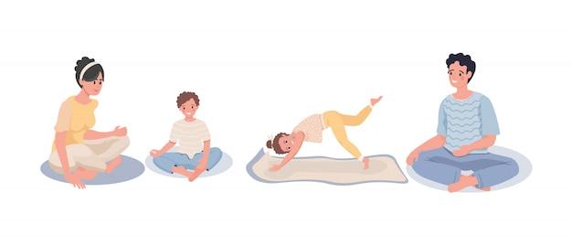 Familie zittend in meditatie. familie doet yoga thuis