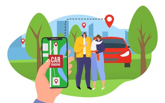 Familie zoeken transportlocatie op mobiel