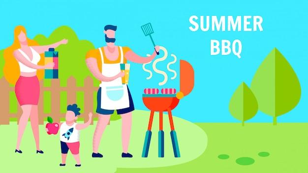 Familie zomer barbecue partij platte sjabloon voor spandoek