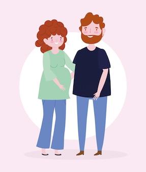 Familie zwangere vrouw en man lid stripfiguur