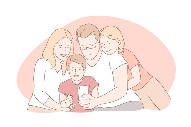 Familiebanden, gelukkige jeugd, ouderschap concept