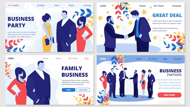 Familiebedrijf, partners, deal, party banners set