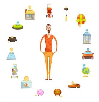 Familiebegrotingssamenstelling van mannelijk karakter van volledige lengte met lege die zakken door waardevol th worden omringd
