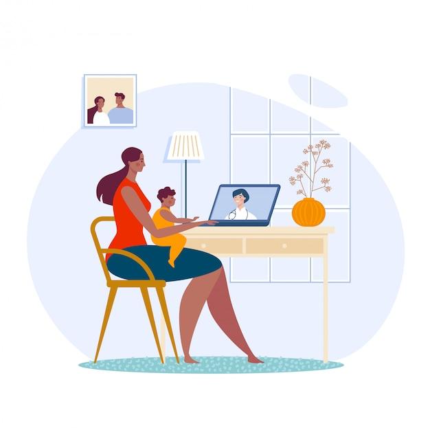 Familiecommunicatie samen online videochat, moederkinderen praten met arts op afstand dialoog