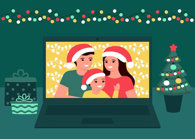 Familiecommunicatie video online op kerstvakantie thuis. vader, moeder en kind dochter die kerstmis en nieuwjaar begroeten. videogesprek op computer, virtuele ontmoeting samen. illustratie