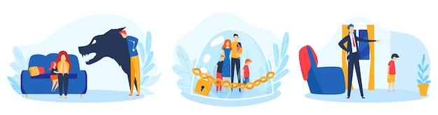 Familieconflict, ouders kinderen probleem illustratie set.