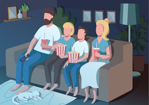 Familiefilmavond egale kleur. moeder en vader kijken tv met kinderen. 's avonds gezinsroutine. ouders en kinderen 2d stripfiguren met interieur op achtergrond
