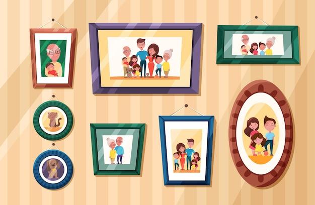 Familiefoto's met portret van ouders en kinderen in kaders herinneringsfoto's met grootouders