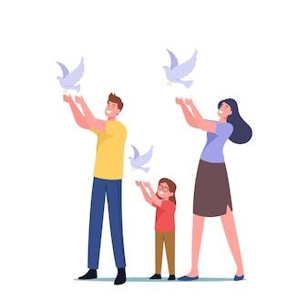 Familiekarakters laten witte duiven in de lucht los. internationale dag van vrede, hoop, wereldwijde anti-oorlogscampagne, menselijkheidsconcept. moeder, vader, dochter met duiven. cartoon mensen vectorillustratie