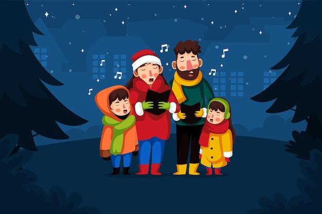 Familiekoor zingt kerstlied