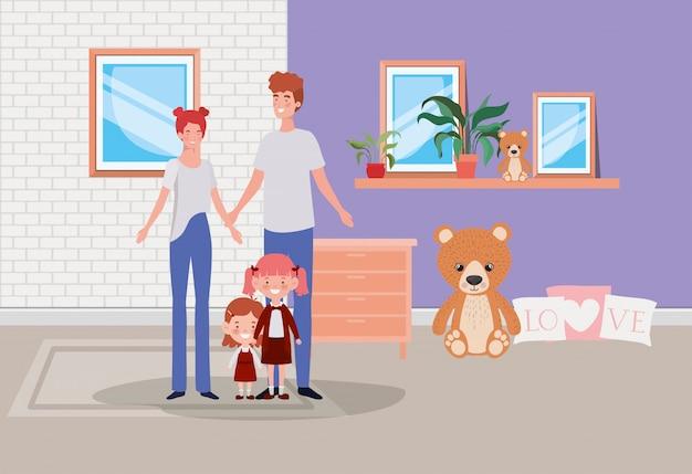 Familieleden binnenshuis plaatsen scène