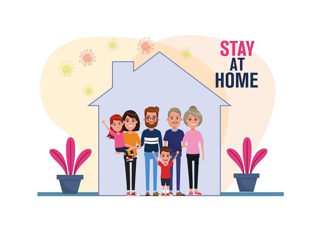 Familieleden blijven thuis covid19 pandemische deeltjes illustratie ontwerp