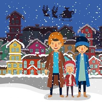 Familieleden die kerstmis in de buurt vieren