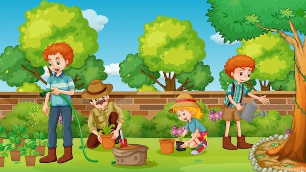 Familieleden gelukkig in de tuin
