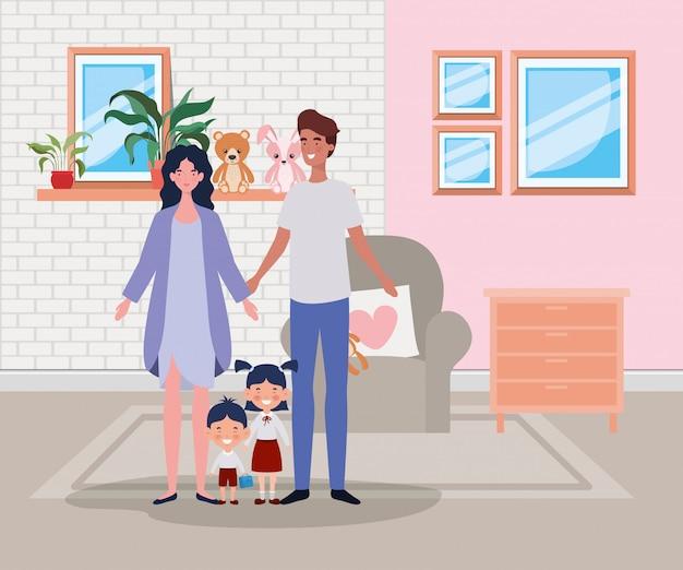 Familieleden in de scène van het huis van de woonkamer