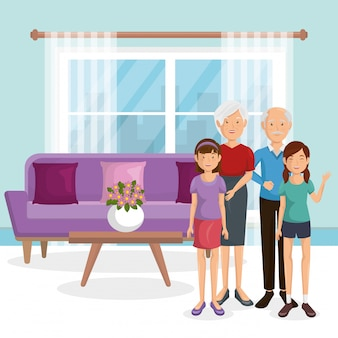 Familieleden in de woonkamer