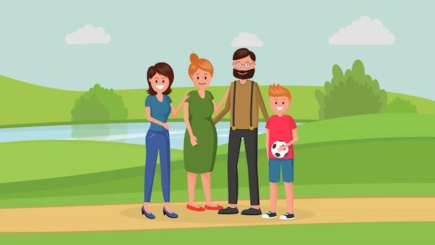 Familieleden in park