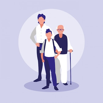 Familieleden samen karakters