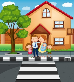 Familieleden staan voor het huis