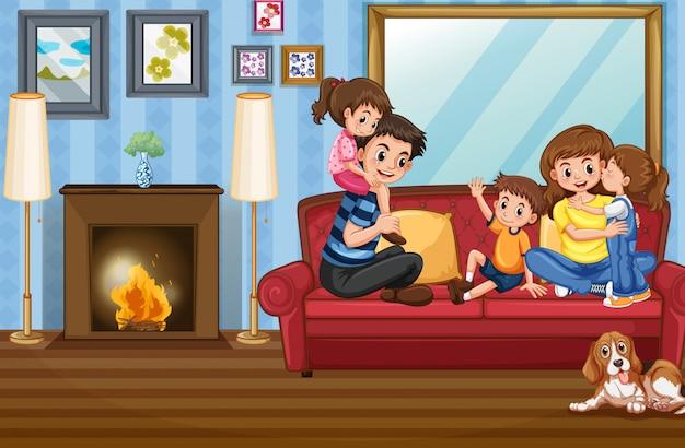 Familielid bij het huis