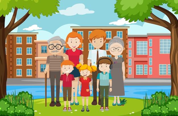 Familielid in de openluchtscène van het park