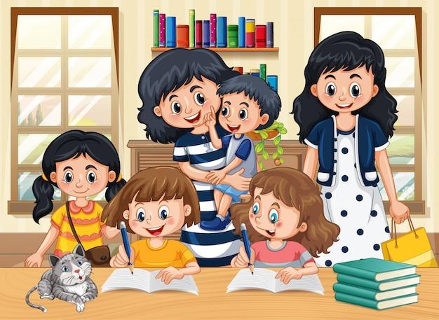Familielid met kinderen huiswerk stripfiguur in de woonkamer