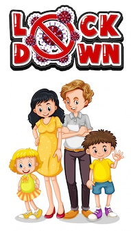 Familielid met lockdown-teken