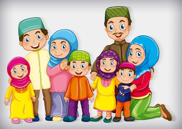 Familielid op cartoon karakter kleurverloop achtergrond